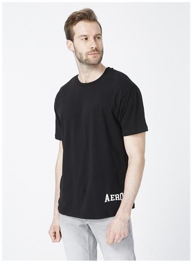 Aeropostale Aeropostale Bisiklet Yaka Baskılı SiyahErkek T-Shirt Siyah